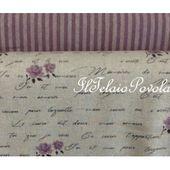 1b Linea shabby misto lino - base naturale scitte e roselline viola - Il Telaio Povolaro