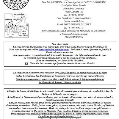 Offices et activités de l'Unité Pastorale Sainte Marthe du 28 février au 7 mars 2021