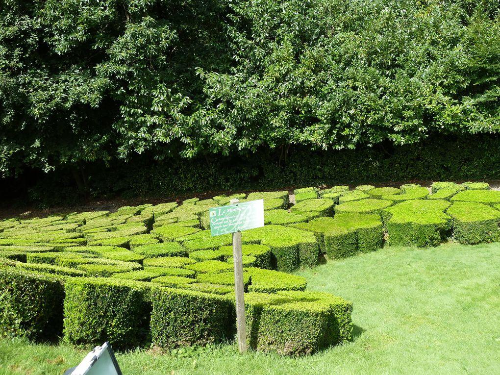 Un puzzle mosaïque de buis parfaitement taillée et une perspective au fond de laquelle on aperçoit deux étangs.