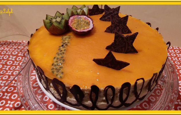 Entremets Vanille Passion, brunoise d'Ananas et gelée de mangue