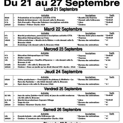 Animations CLB - Du 21 au 27 septembre 2020