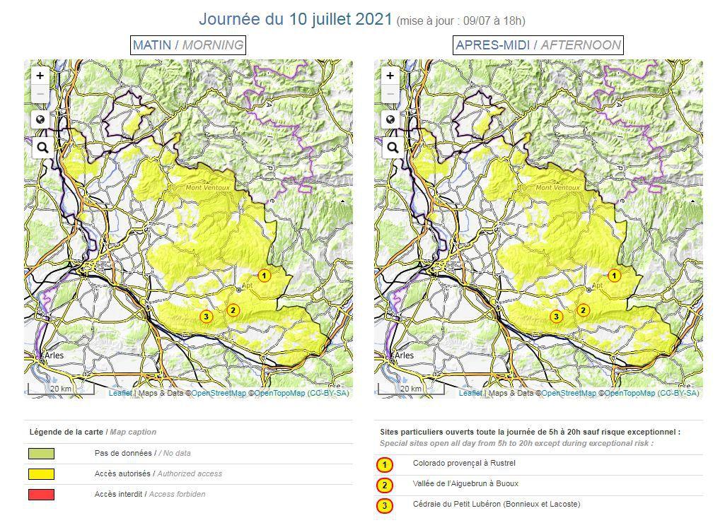 Carte risque incendie en Vaucluse. Journée du samedi 10 juillet 2021