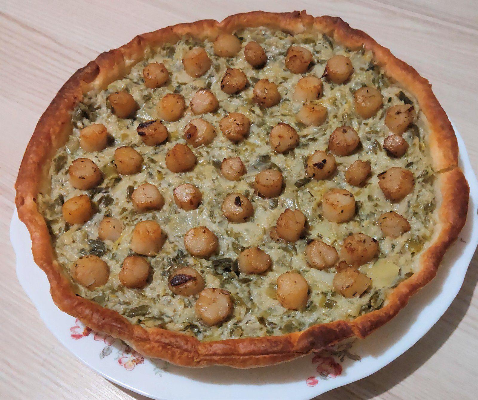 Tarte à la fondue de poireaux et noix de St Jacques
