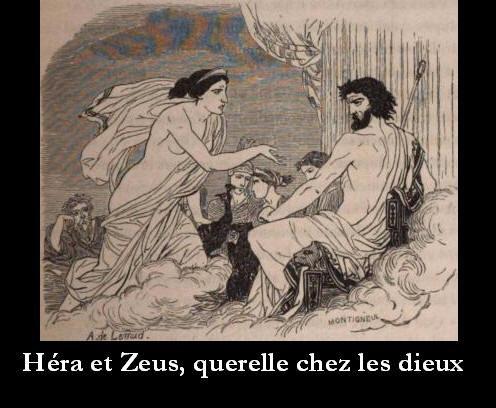 Héra se querellant avec Zeus, son époux. Querelle chez les dieux.