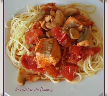Spaghetti aux tomates et au saumon WW
