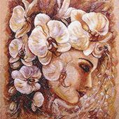Orchids woman photo stitch free embroidery design