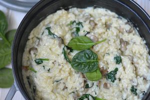 Risotto Champigons - Epinards au four