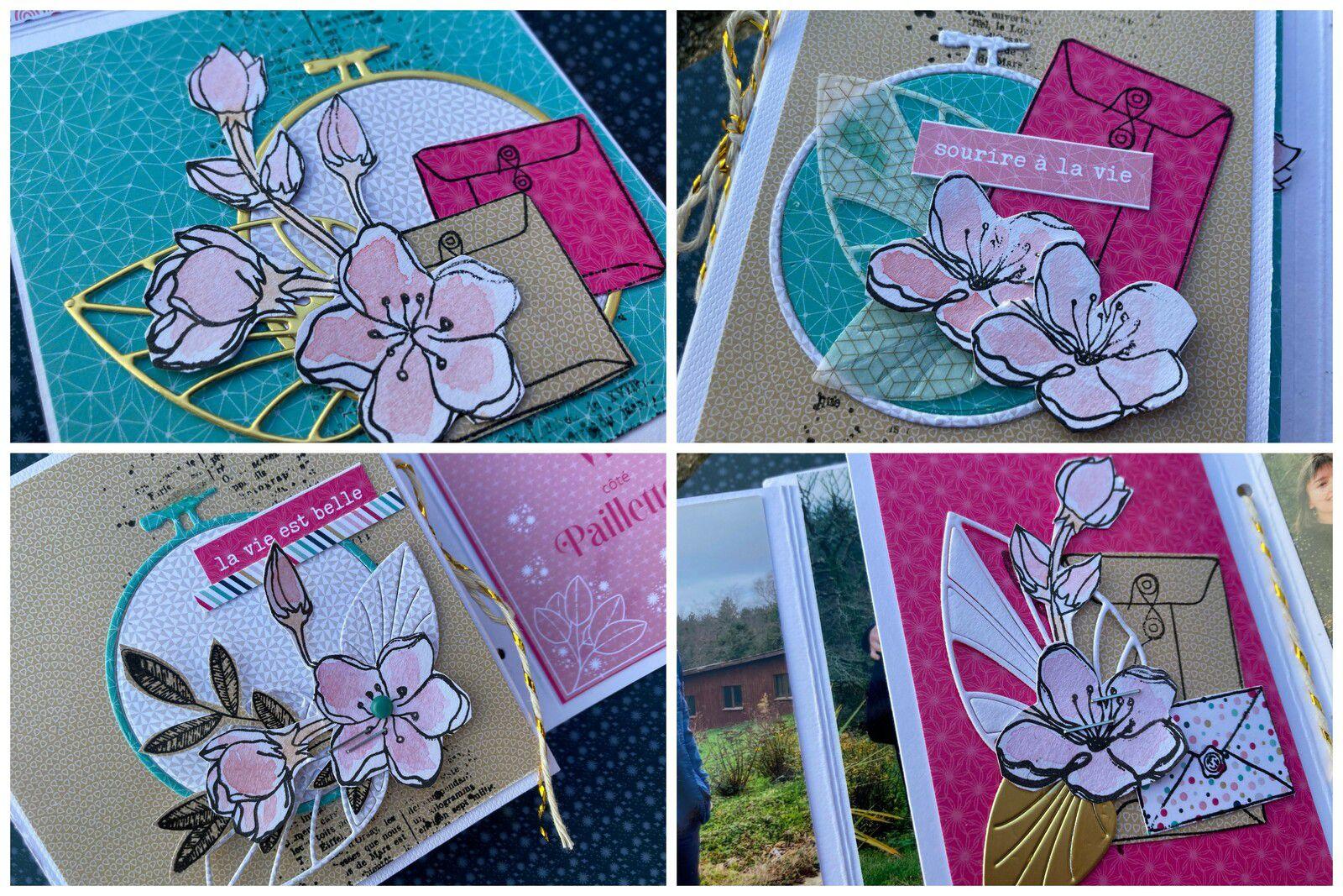 Je vous mets quelques détails de la déco avec tampons enveloppes sur papiers imprimés et fleurs à l'aquarelle pour adoucir le tout.