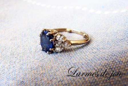 Saphir et diamants navette