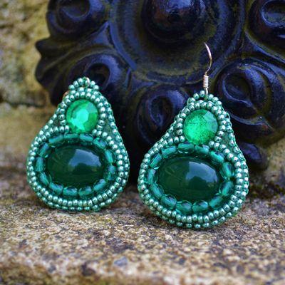 Boucles d'oreilles baroques en perles de rocailles et aventurine