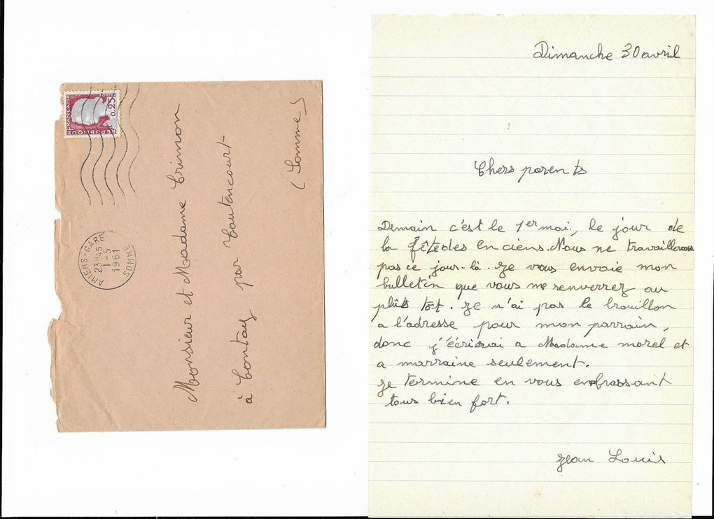 Amiens. Lettre à mes parents du 30 Avril 1961. © Jean-Louis Crimon