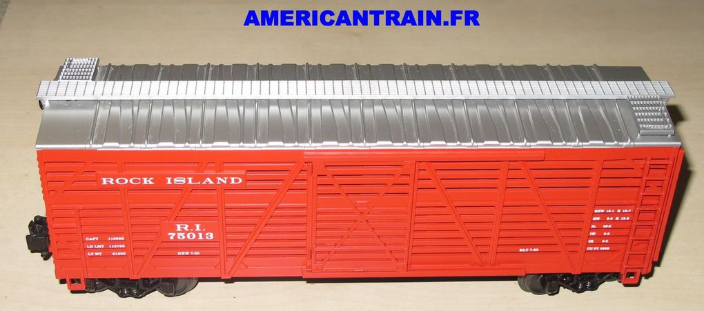 Wagon Steel Sided Stock Car Rock Island 3 rails échelle O MTH