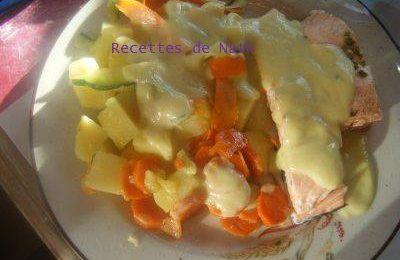 Soupe de légumes et Saumon ou Poulet sauce courgettes et tagliatteles de légumes