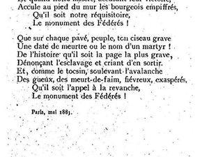 Poème Le monument des Fédérés