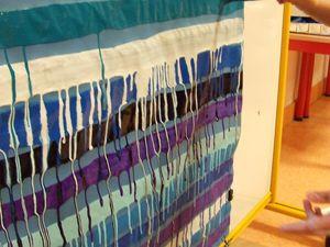 Première production collective dans des tons froids (bleus, violet, blanc et noir)