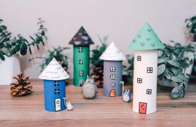 Petit village en rouleaux de papier