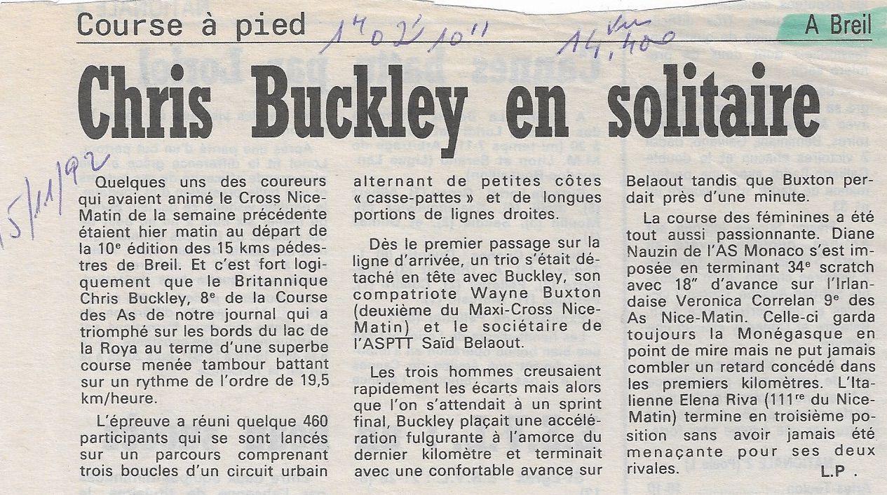 BREIL SUR ROYA 10 ème édition - 14,400 kms - 15.11.1992