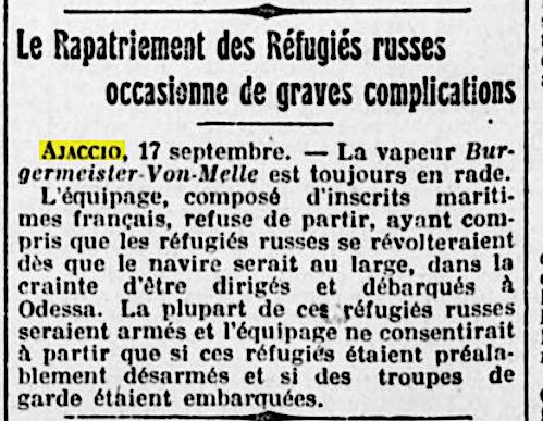 """""""Le Petit Marseillais"""", 18 septembre 1921."""