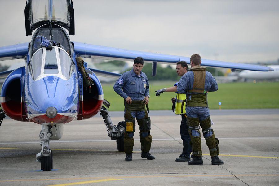 Salon du Bourget 2013 - L'arrivée de la Patrouille de France sur le Tarmac le jeudi 20 juin 2013.