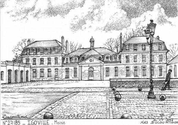Le château-mairie d'Igoville selon un travail du dessinateur et éditeur de cartes postales Yves Ducourtioux.