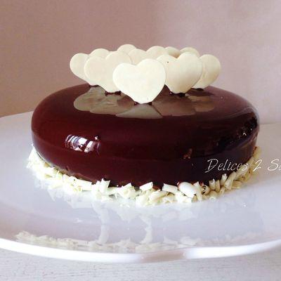 Entremet au chocolat et coeur passion
