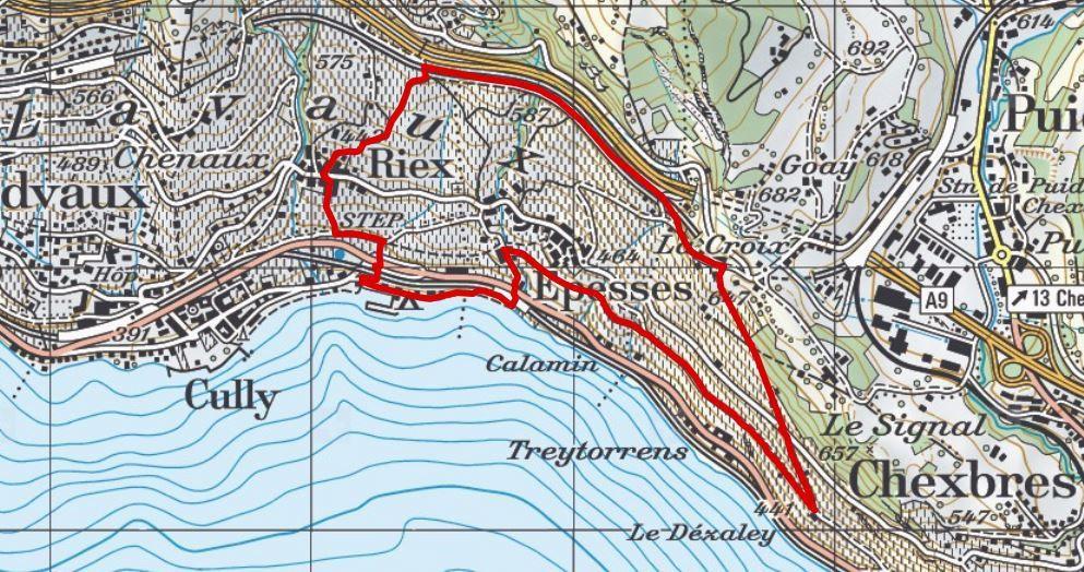 Autour d'Epesses, Lavaux - carte et profil