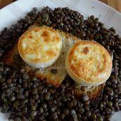 Salade de lentilles du Berry au crottin de Chavignol chaud - auxdelicesdemanue
