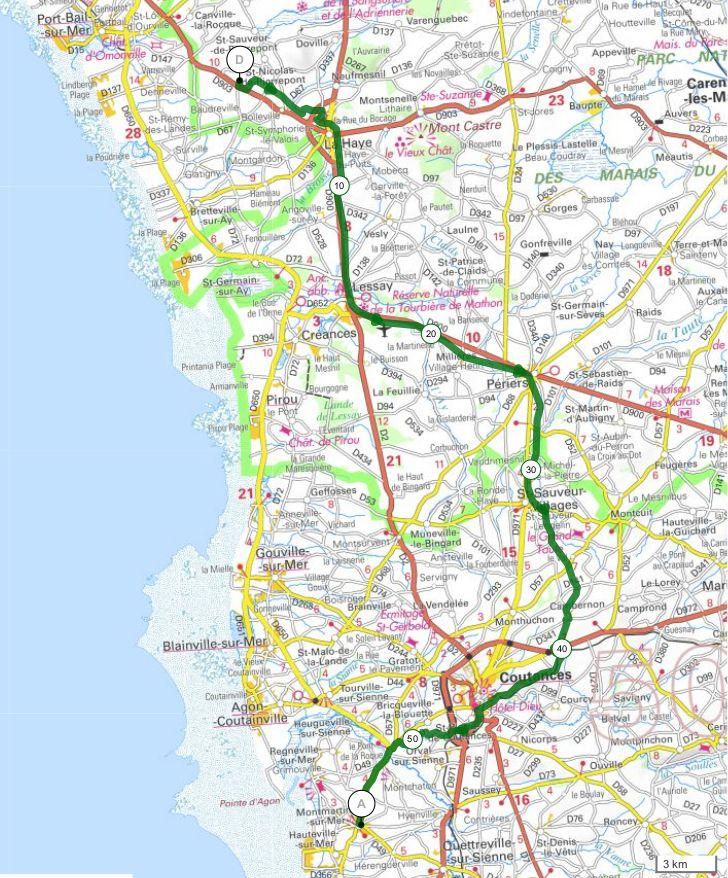 Boucle en Cotentin 2 : étape 2 - Bolleville (La Haye) / Montmartin-sur-Mer - 56,3 km
