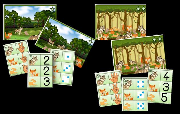 Les animaux de la forêt : dénombrement et jeu de manipulation