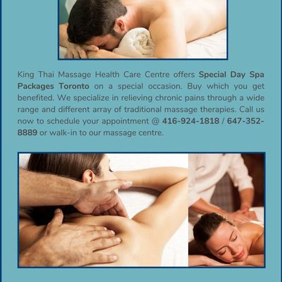 Special Day Spa Packages Toronto at an offer price: King Thai Massage Centre