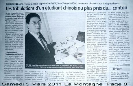Yun TAO se définit comme: observateur indépendant, samedi 5 mars 2011 La Montagne Page 8