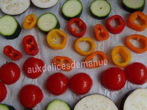 tarte façon tatin à la courgette, aubergine, poivrons et tomates-pâte allégée