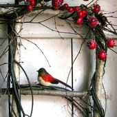 Crimson Berry Window - Winter Wreath - Birch Window