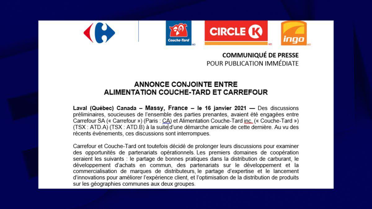 """CARREFOUR ET COUCHE-TARD RENONCENT À UN RACHAT MAIS ENVISAGENT DES """"COOPÉRATIONS INDUSTRIELLES"""""""