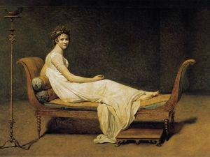 """""""Mme Récamier"""", Jacques Louis David, 1800 / René Magritte, """"Mme Récamier de David"""", 1951"""