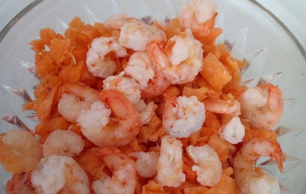 Verrines oeufs, carottes, tomates, et petites crevettes