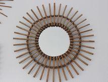 Miroir Soleil Rotin Années 70 - Vintage