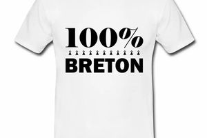 T shirt blanc homme 100% Breton Humour Bretagne