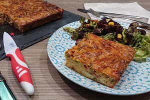 Moelleux aux petits légumes grillés fromage de chèvre et jambon cru