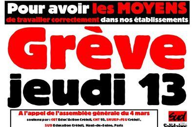 Jeudi 13 mars : appel à la grève dans les collèges et lycées