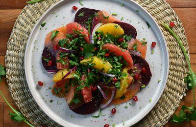 Salade de truite fumée, betterave et agrumes