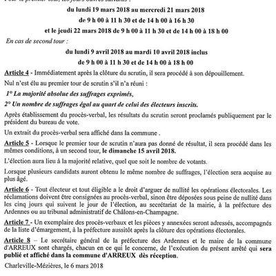 ARREUX : Elections Municipales Complementaires DIMANCHE 8 AVRIL 2018