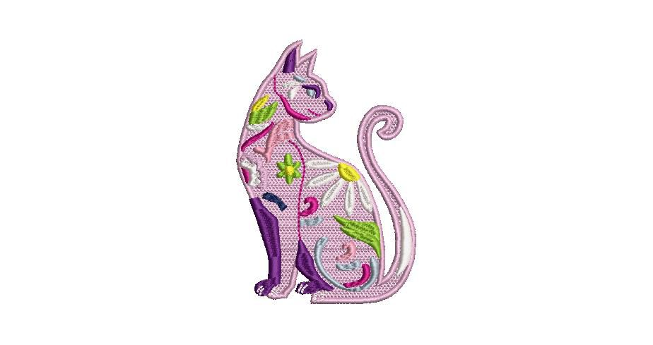 BRODERIE CHAT MULTICOLORE