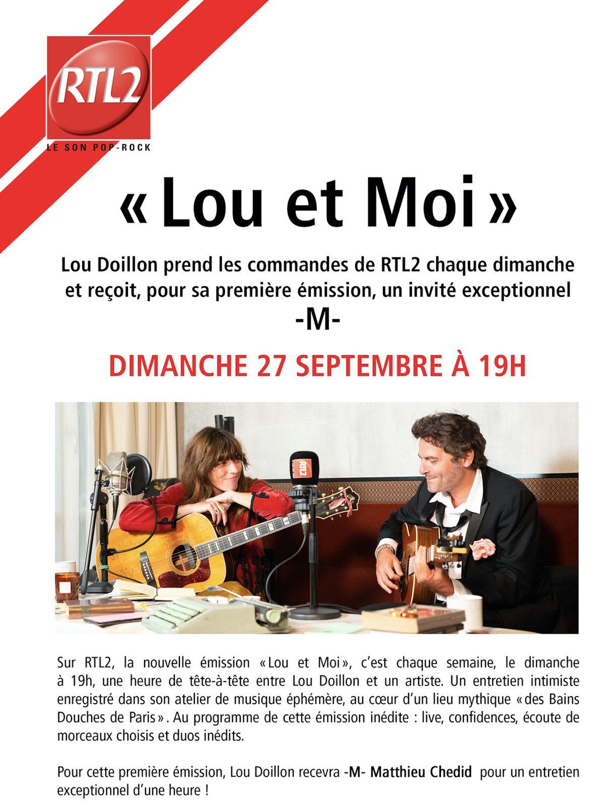 Lou et moi, nouveau rendez-vous sur RTL 2, avec Lou Doillon.