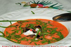 Soupe Froide de Pastèque à la Ricotta et aux Olives