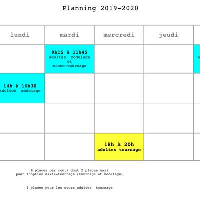 Planning des Cours 2019-2020