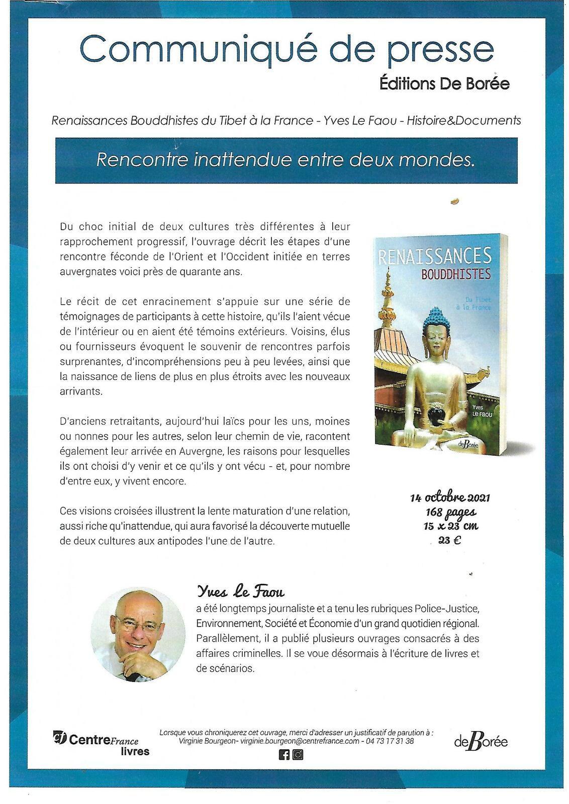 Yves Le Faou :  Renaissances Bouddhistes