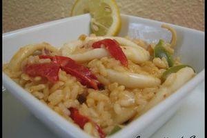 Risotto au calamars & poivrons sauce paprika