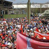 ALLEMAGNE : pour les SALAIRES et contre la CONCURRENCE DÉLOYALE, Des milliers d'ouvriers MÉTALLURGISTES manifestent dans plusieurs villes allemandes