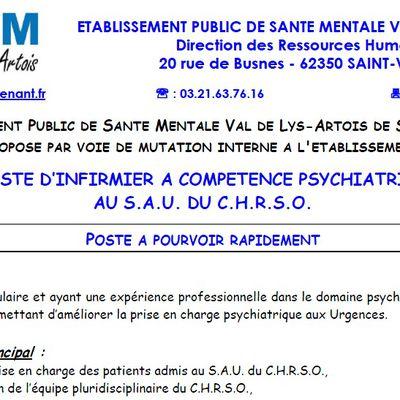 Poste à pourvoir : IDE (CH St Omer)